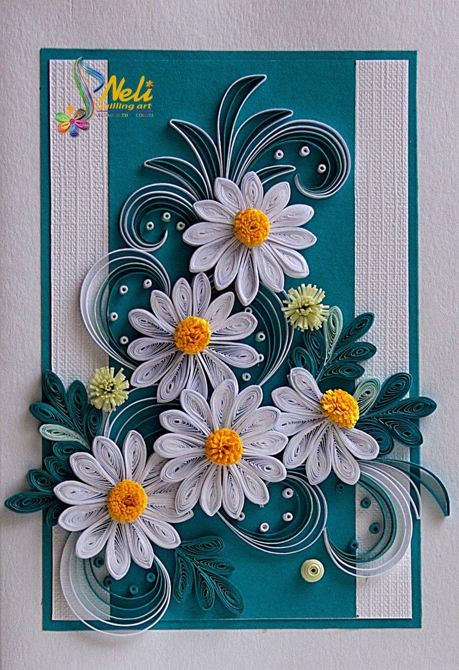 Цветы на открытку в технике квиллинг
