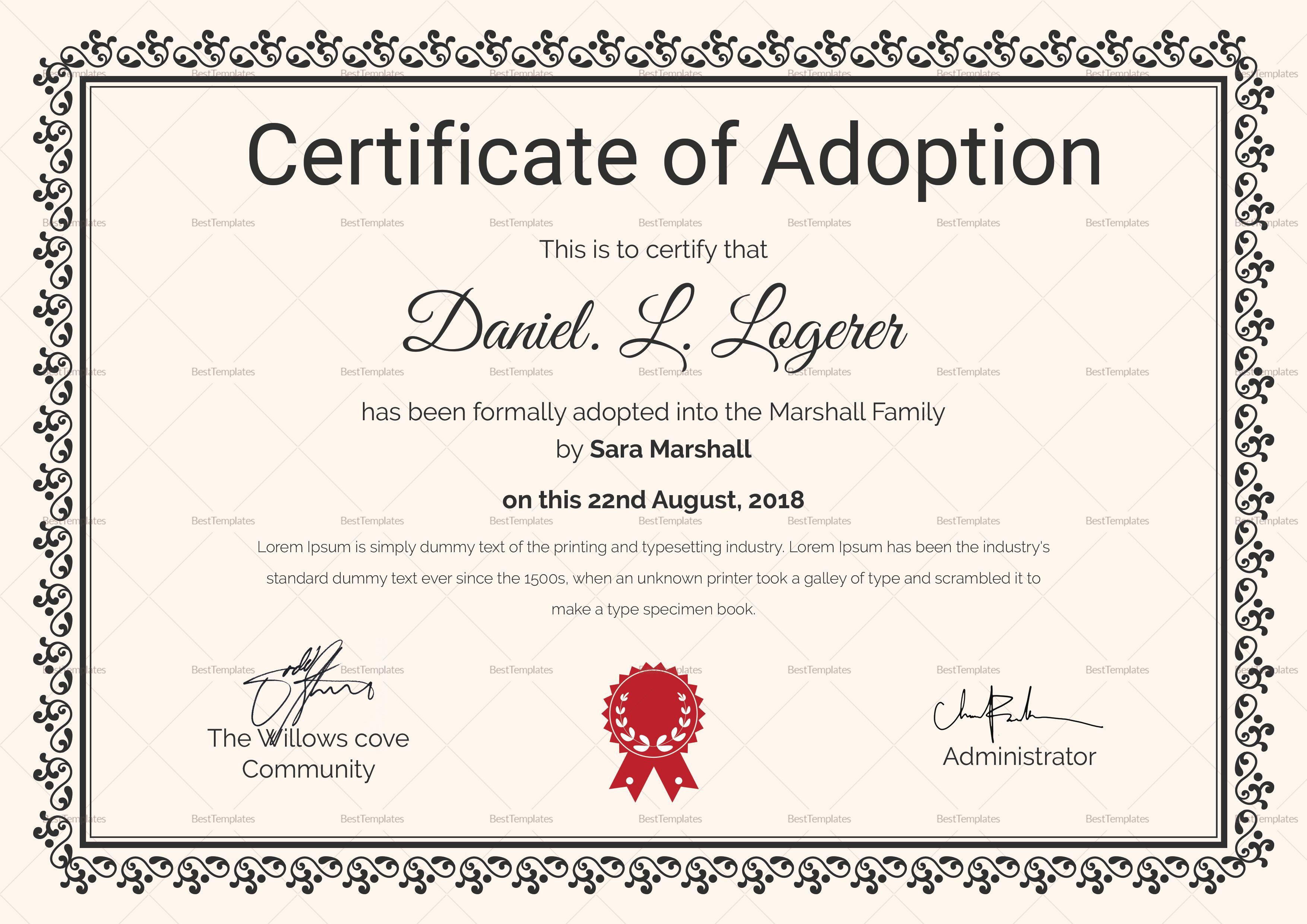 happy adoption certificate template