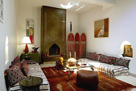 The main elements of Moroccan style design are rugs, tiles, dishes