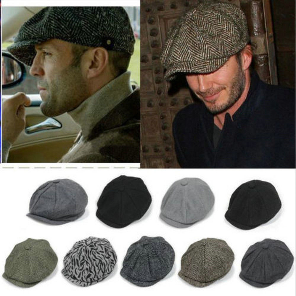 Herringbone Tweed Gatsbysboy Cap Men Wool Ivy Hat Golf Driving Flat Cabbie e5bd9ade614c