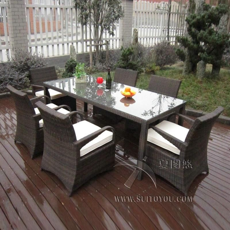 7 pcs Rattan Garden Dining Sets , Washable Resin Wicker Patio Furniture transport by sea #resinpatiofurniture