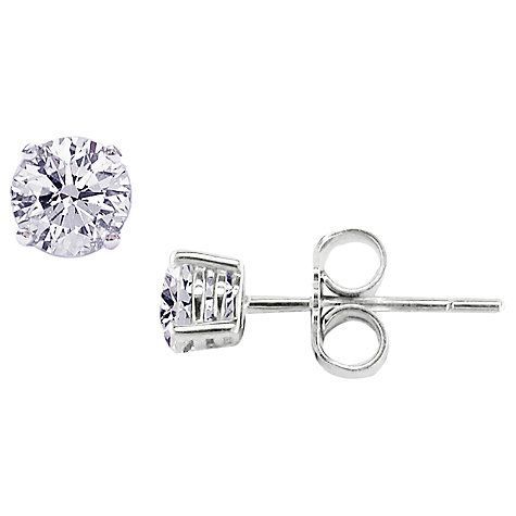 b862934c0a5f42 Buy EWA 18ct White Gold 0.80ct Diamond 4 Claw Stud Earrings, White Gold  Online at johnlewis.com