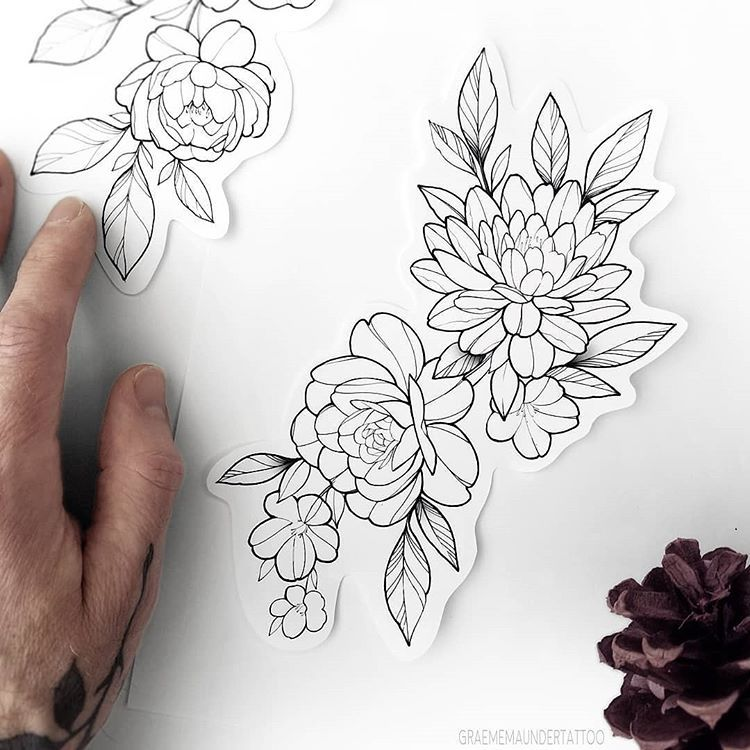 "Graeme - Tattoo Artist on Instagram: ""New flash (TAKEN 😔) Dahlia rose & blossoms ⠀⠀⠀⠀⠀⠀⠀⠀⠀ Approx 6x3"" Around $360 for arms/legs (can be made larger, and placement could be…"""