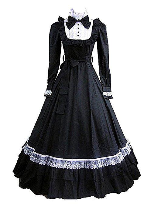 Tiny Time Damen Schwarz Lolita Lange Ärmel BallGown Gothic Party ...