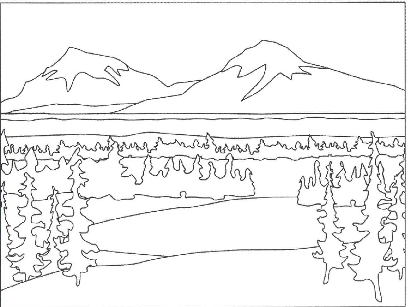 7 pics of color mountain coloring pages mountain scene coloring - Printable Scenery Coloring Pages