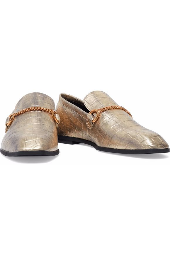 96de8b9fbf6 STELLA McCARTNEY Chain-trimmed metallic faux croc-effect leather loafers