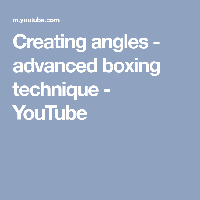 Creating angles - advanced boxing technique - YouTube