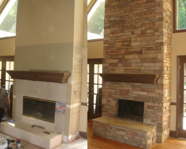 Pin On Stone Fireplace Makeover