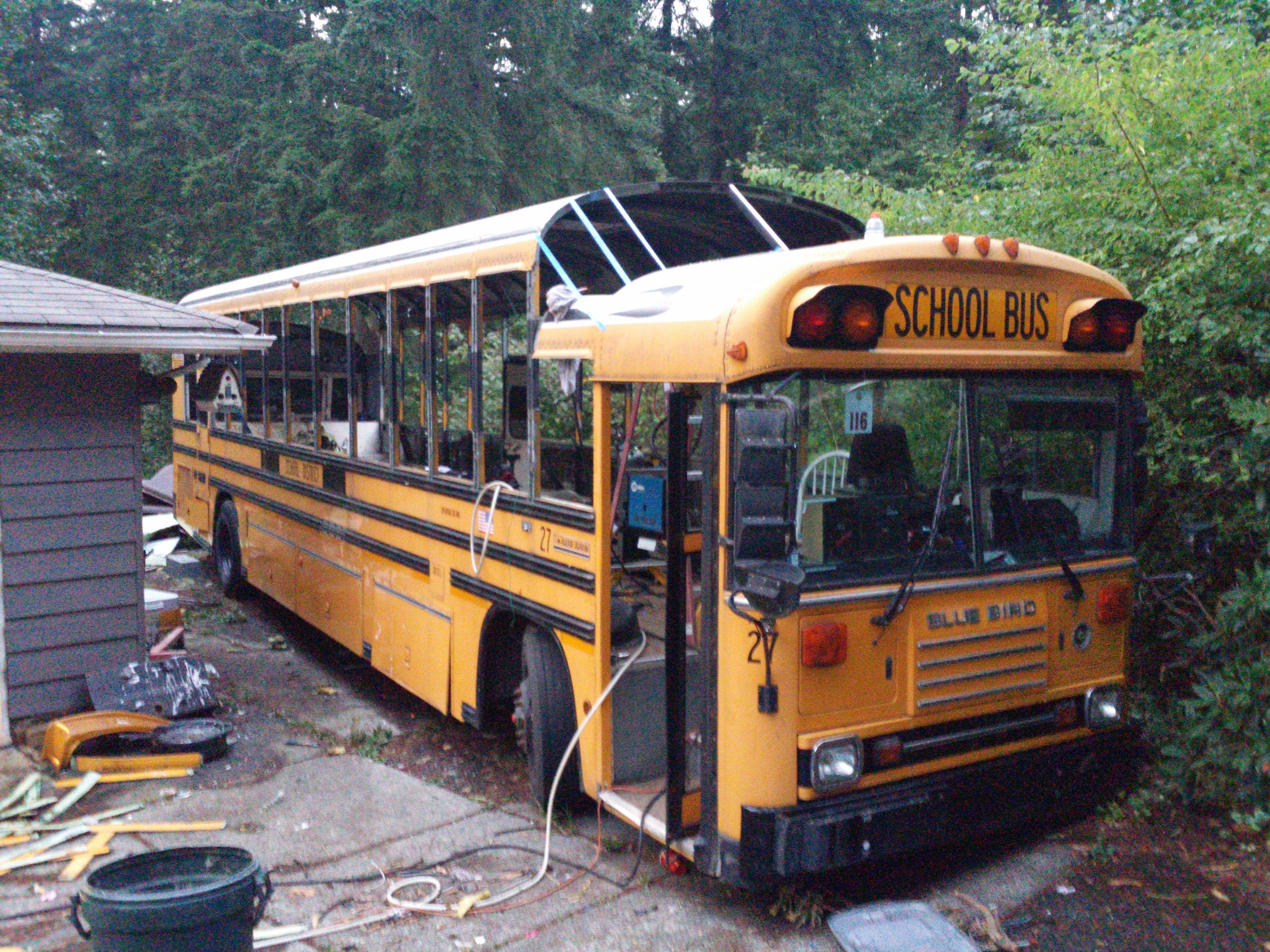 School Bus Conversion Resources: Slanted Section After Roof Lift