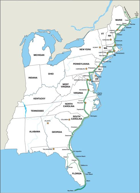 East Coast Cities Map MAP