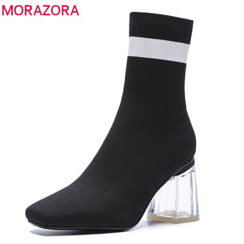 MORAZORA 2018 new fashion shoes woman autumn ankle boots women elegant  Stretch socks boots sexy high 3c8c263e2e05