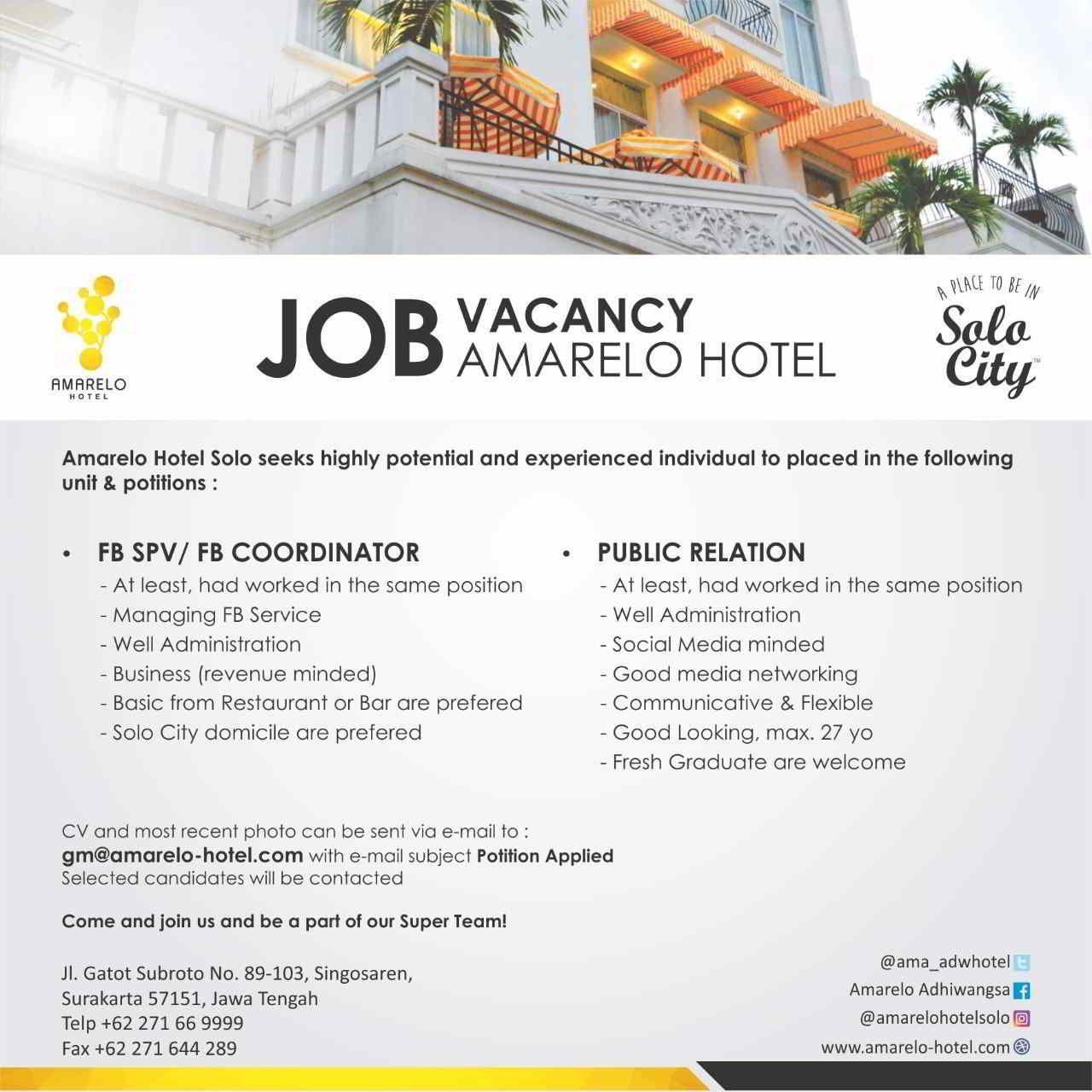 Job Amarelo Hotel Solo Pendidikan