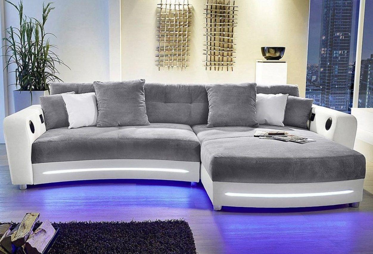 Bemerkenswert Sofa Mit Funktion Foto Von Wohnlandschaft In Weiß Grau Einer Tollen Led