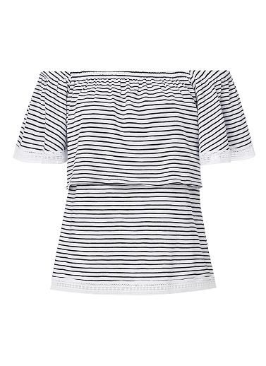 100% Cotton Trim Off Shoulder Top. Comfortable fitting silhouette features an elasticised off shoulder neckline with layered body and dipped hem with trim detail at edge. Available in White and Black/White Stripe as shown.