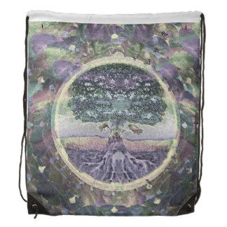 Tree of Life in Rainbow Metal Colors Drawstring Bag by Amelia Carrie