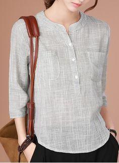 Llanura Casuales Algodon Cuello Redondo Mangas 3 4 Camisas De 1645123784 Blusas Femininas Blusas Roupas
