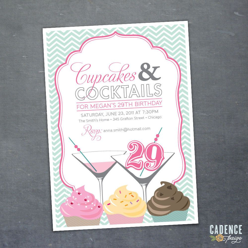invite cupcake and cocktails