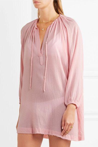 Summer Of Love Juliet Belted Gauze Mini Dress - Pastel pink Eberjey 1XG1jedt