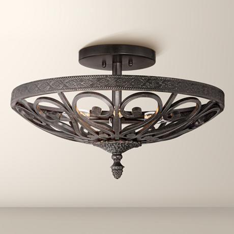 Kathy ireland la romantica black iron ceiling light style 7w432 kathy ireland la romantica black iron ceiling light aloadofball Images