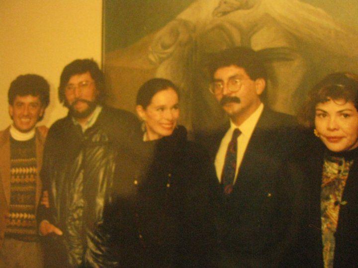 Con la actriz Geraldine Chaplin, Jorge Sánjinés, el Papirri y Carmen Sandoval