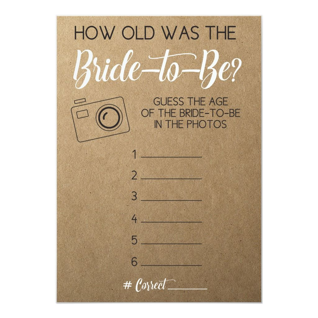 Bridal Shower Game- Guess Bride's Age from Photo Invitation | Zazzle.com