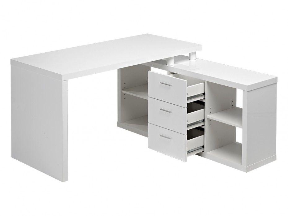 Bureau dangle aldric iii 3 tiroirs & 2 étagères blanc idées