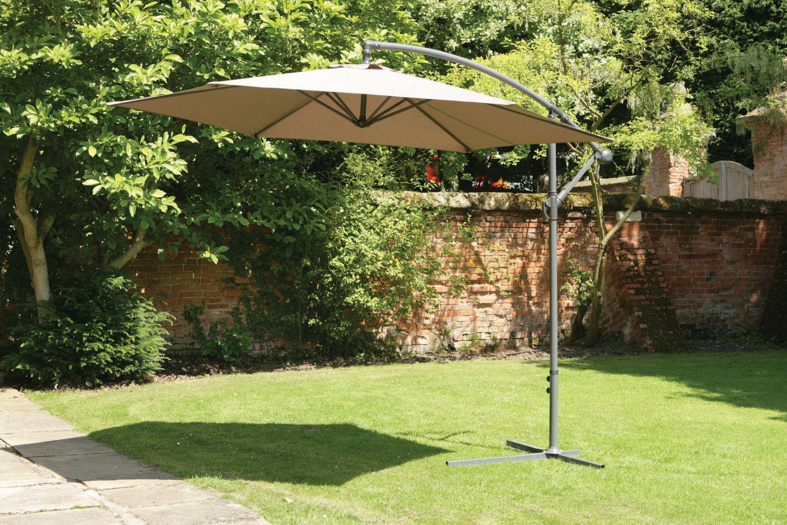 Uk Gardens 3m Cream Beige Cantilever Hanging Garden Parasol Umbrella