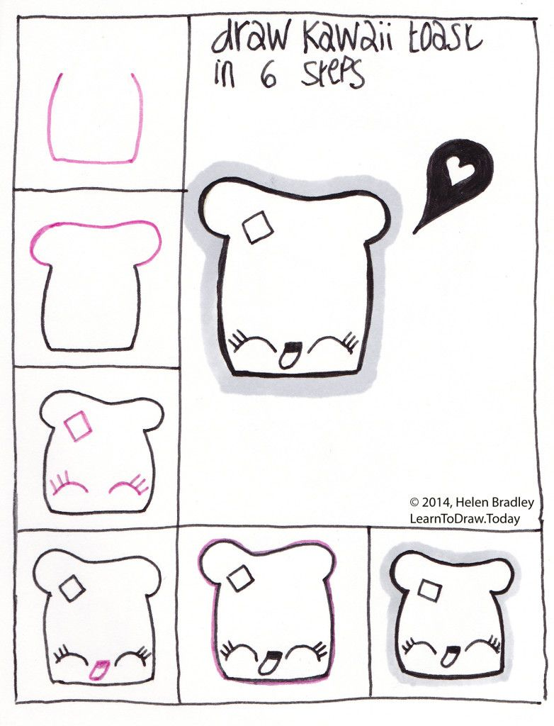 Easy Step By Step Drawing Tutorial: Draw Cute Kawaii Toast Step By Step