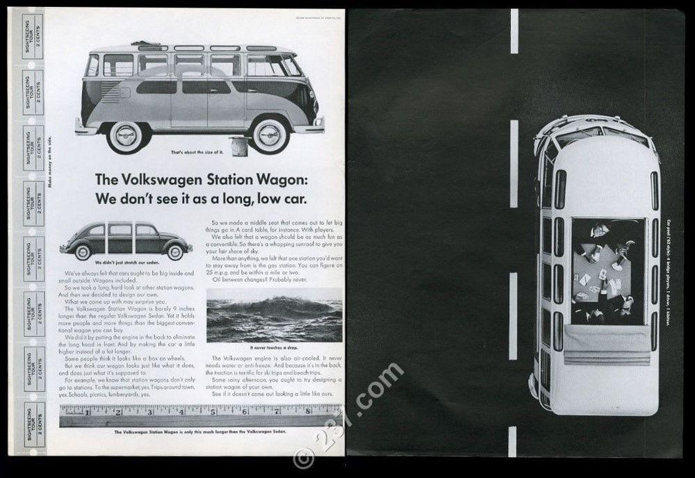 1962 Vw Volkswagen Bus Microbus And Beetle Photo Vintage Ad Vw Bus