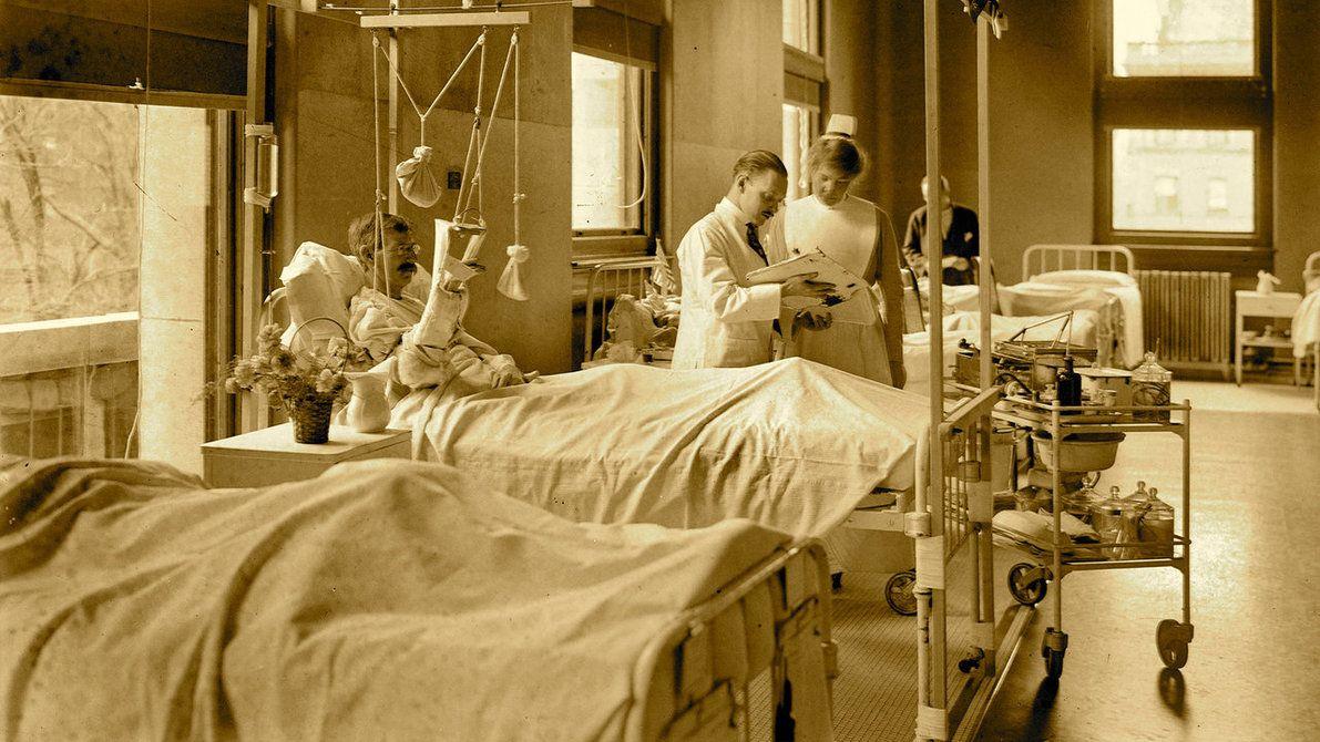 New York, May 1917. St. Luke's Hospital men's ward