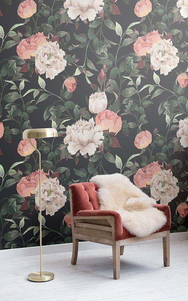 Dark Vintage Floral Wallpaper Large Flower Design