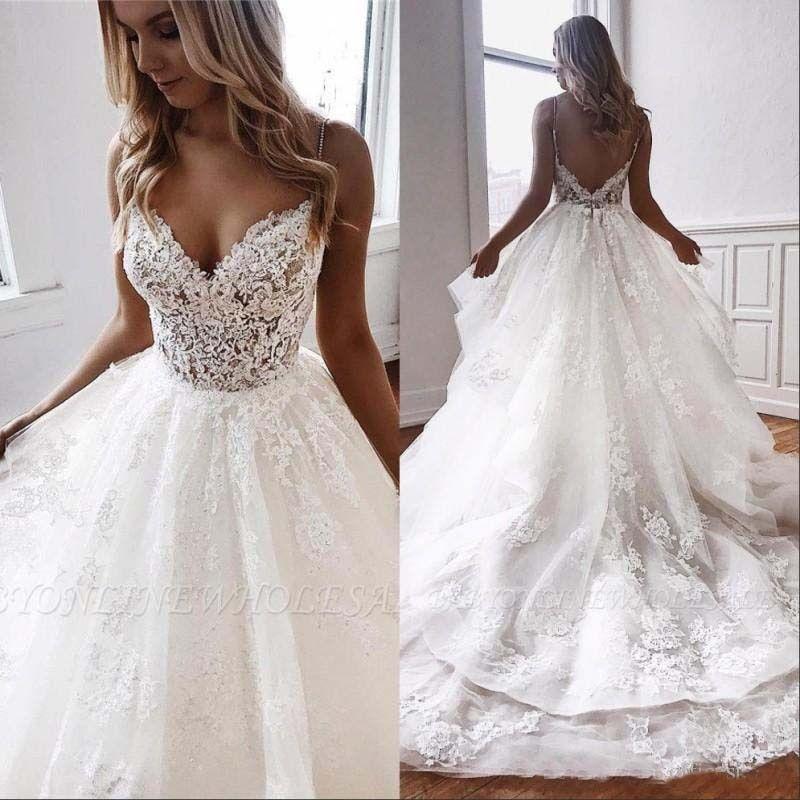 Photo of New Arrival Beach Wedding Dresses 2020 Spaghetti Illusion Sexy Backless Boho Wedding Gowns Sweep Train Bohemian Bride
