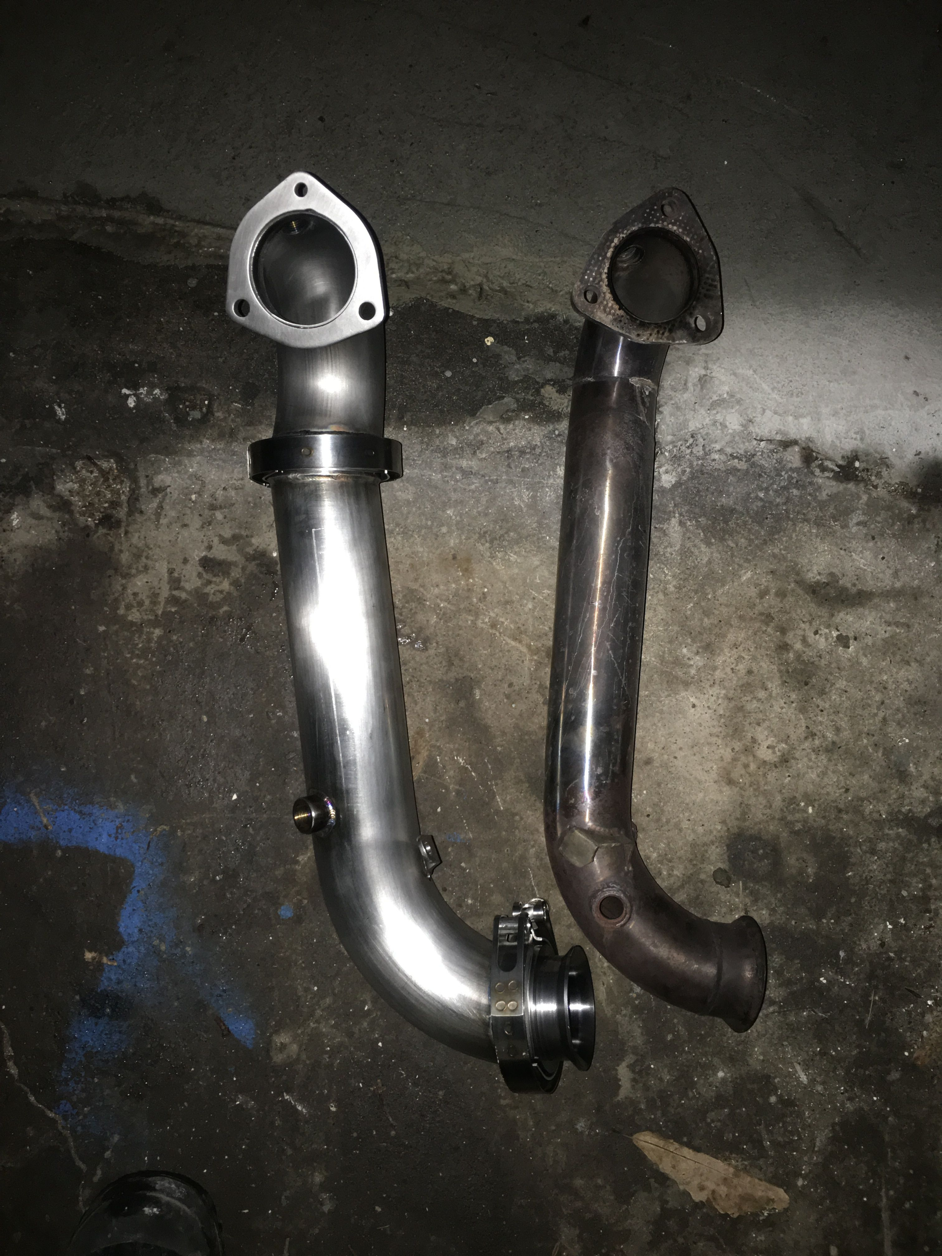 My New Atp Turbo 3 Downpipe Next To My Old 25 Downpipe My Mini