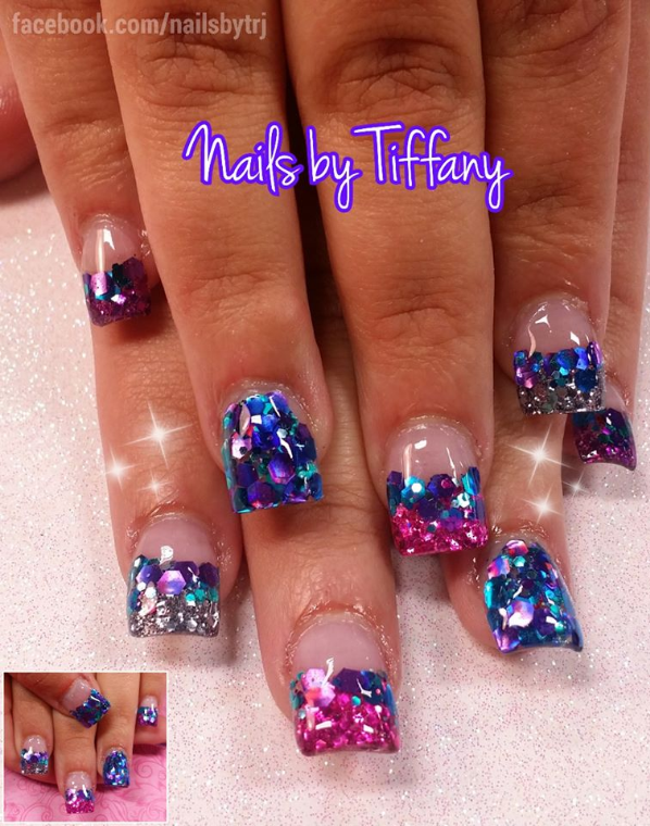 Acrylic nails by tiffany a new day spa salon glitter for Acrylic nails salon