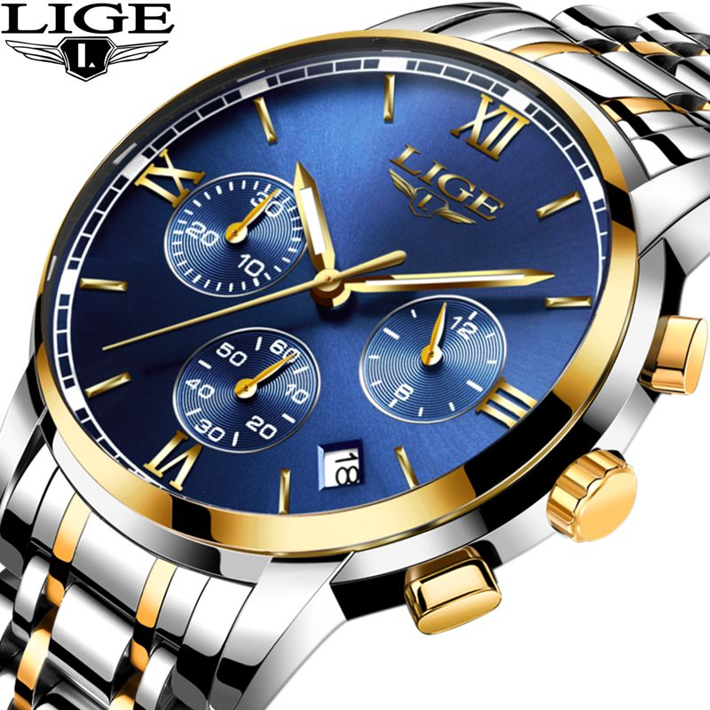 luxury watches lige men waterproof maker new relogio deal man watch leather product sports brand chronograph masculino quartz happy mens