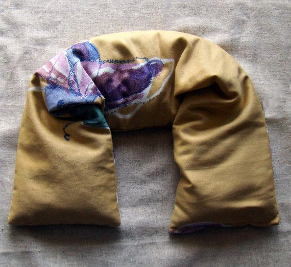 Spearmint Lavender And Chamomile Microwavable Flaxseed Neck Wrap By Aquarianbath