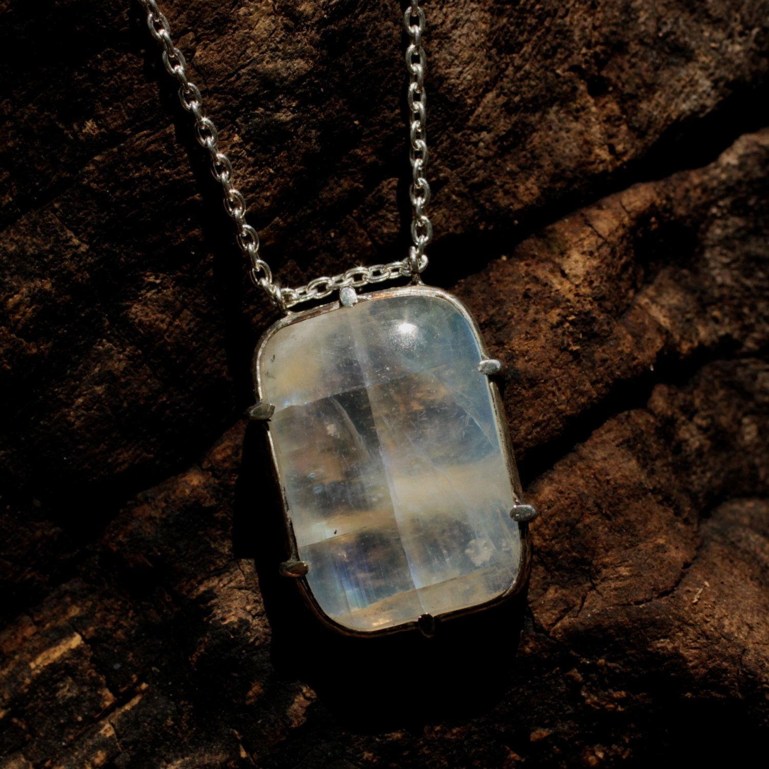 Moonstone pendant necklace in sterling silver prong and bezel setting with fine oxidized silver chain