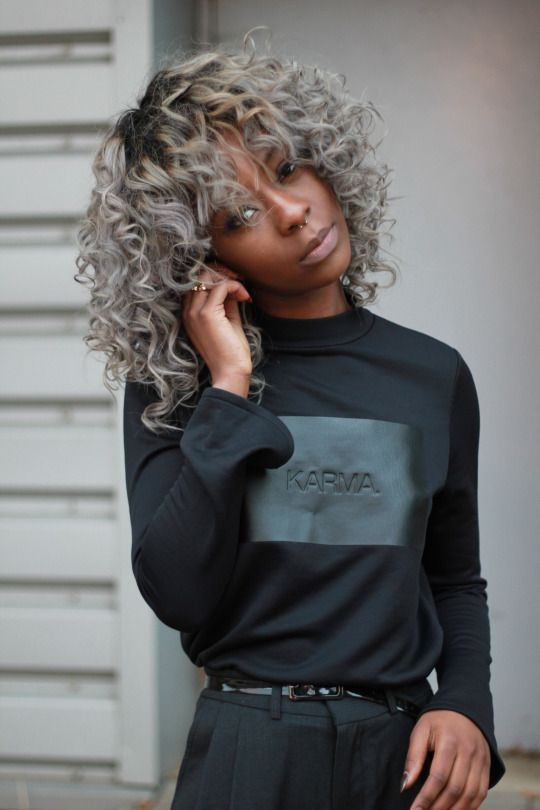 Black Fashion Color Gray Hair Naturally Curly Hair