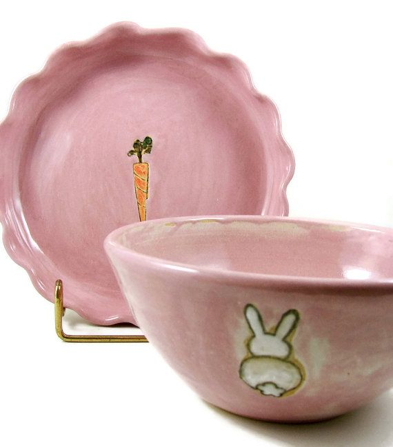 Babys first bowl and plate set baby shower gift bunny and babys first bowl and plate set baby shower gift bunny and carrot handmade ceramic stoneware clay pottery ready to ship negle Images
