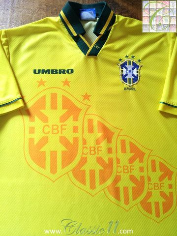 0624fedee Relive Brazil s 1994 1995 international season with this original Umbro  home football shirt.