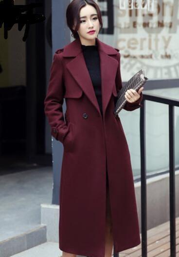 83b56288975cc Womens Luxury Lapel Maxi Belt Trench Outerwear Slim Fit Long Overcoat E127