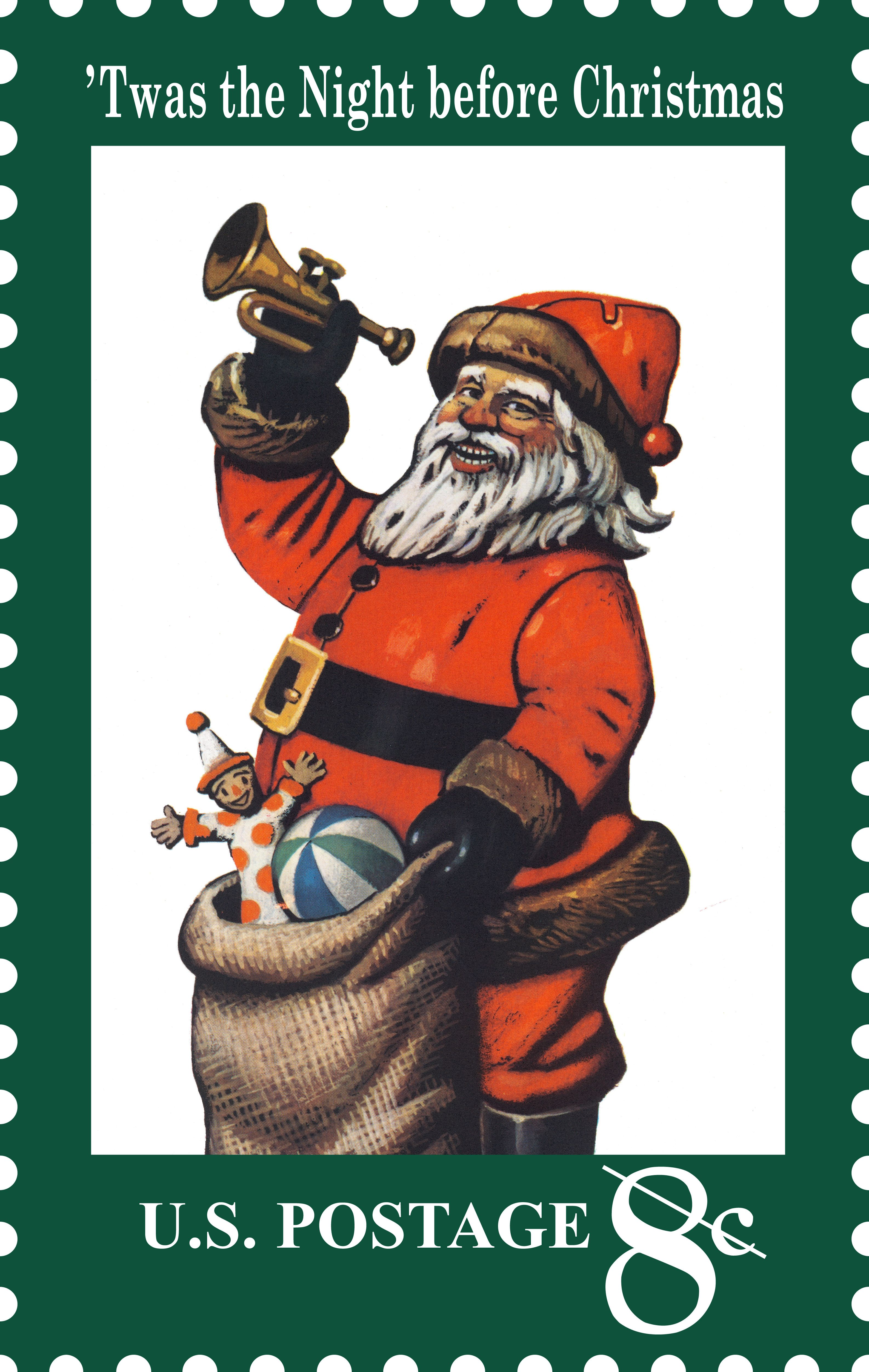 Santa Claus first appeared on a U.S. postage stamp in 1972