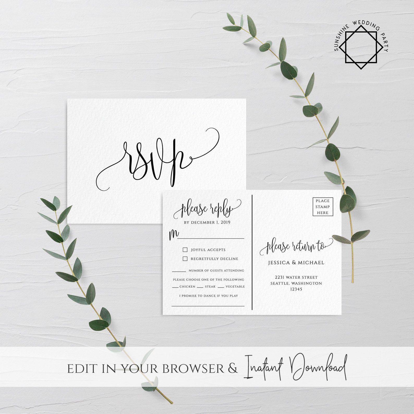 Wedding Invitation Psvp Postcard Template Editable Printable