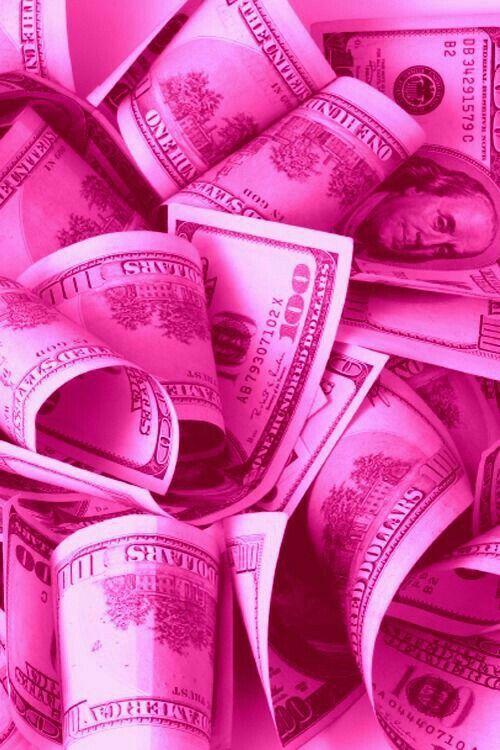 Shocking Pink 100 Dollar Bills Phone Wallpaper Background