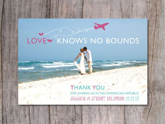 Destination Wedding Thank You Card Beach 15 00 Via Etsy With A Group Shot Of Everyone That Was There