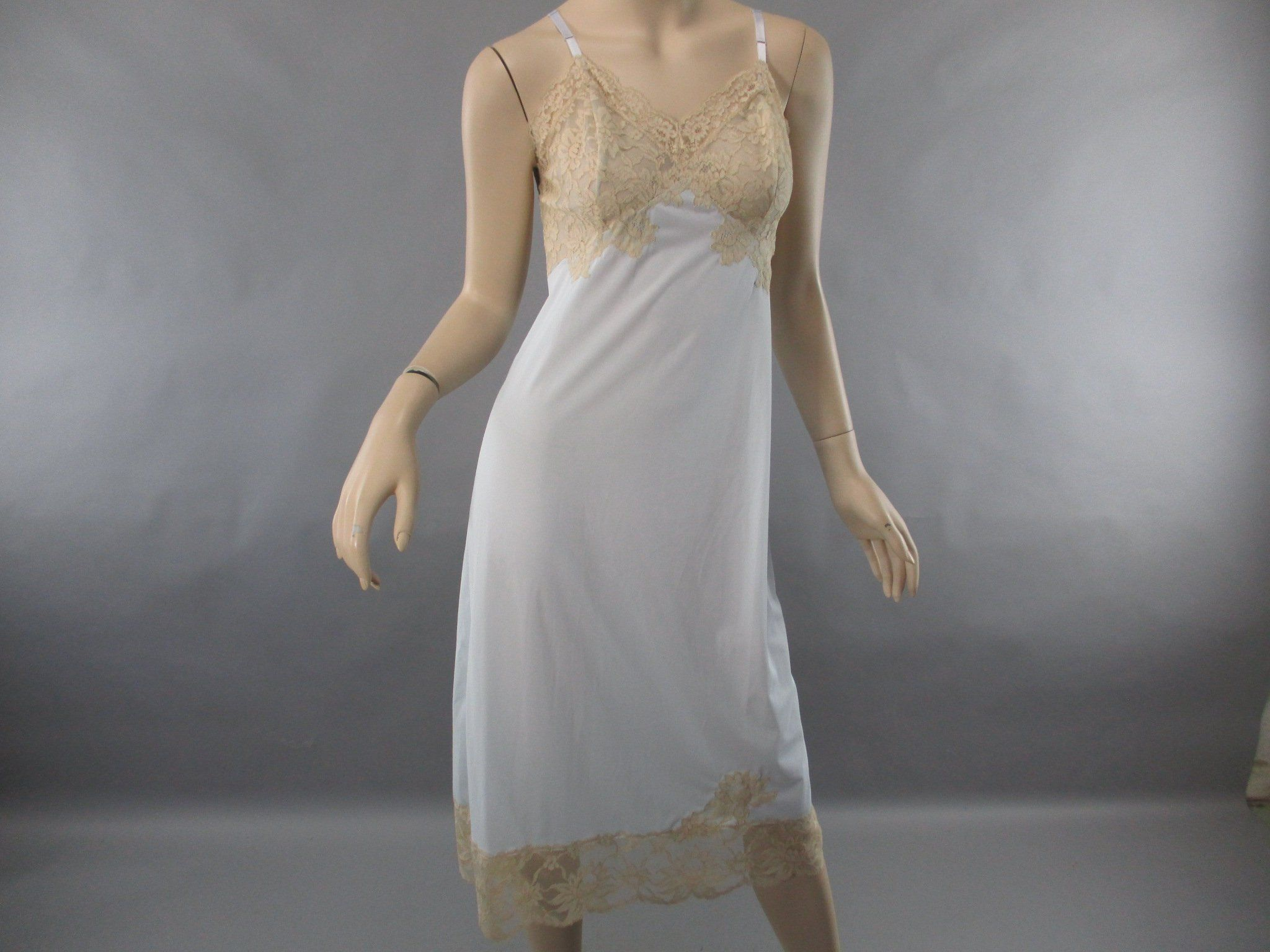 7d29082f955 Vintage 1950s Blue Lace Slip Dress