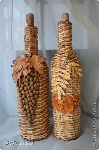 Art culos de decoraci n tejen uvas y botellas de vidrio de - Articulos de decoracion ...