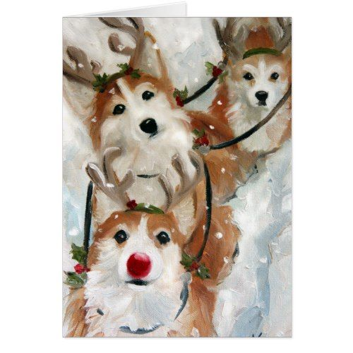 Pembroke Welsh Corgi Christmas Reindeer Card 2017