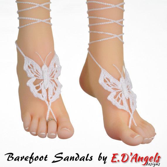Barefoot Sandals | Crochet Pattern | Foot jewelry | BUTTERFLY | Pies ...