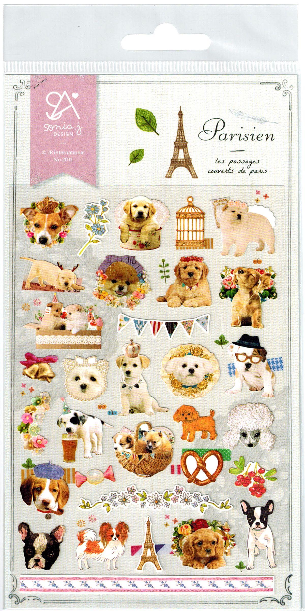 Sonia Parisien Puppies Die-Cut Sticker Sheet